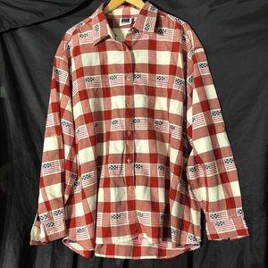 Patriotic Button Long Sleeve Shirt 5X